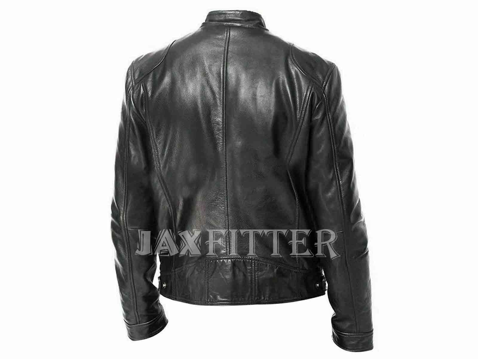 Brando Classic Biker Red and Black Vintage Men Motorcycle Genuine Leather Jacket